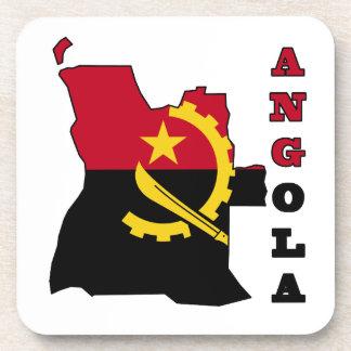 Bandera en el mapa de Angola Posavasos De Bebidas