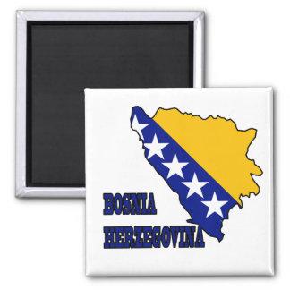 Bandera en el mapa de Bosnia y Hercegovina Imán Cuadrado