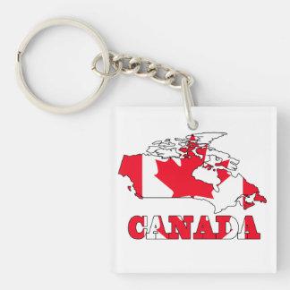 Bandera en el mapa de Canadá Llavero Cuadrado Acrílico A Doble Cara