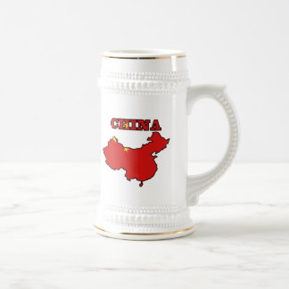 Bandera en el mapa de China Jarra De Cerveza