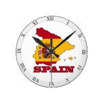 Bandera en el mapa de España Reloj De Pared