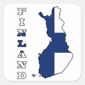 Bandera en el mapa de Finlandia Calcomanía Cuadradas
