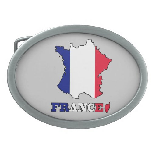 Bandera en el mapa de Francia Hebilla De Cinturon Oval