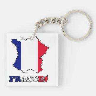 Bandera en el mapa de Francia Llavero Cuadrado Acrílico A Doble Cara