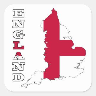 Bandera en el mapa de Inglaterra Pegatina Cuadradas