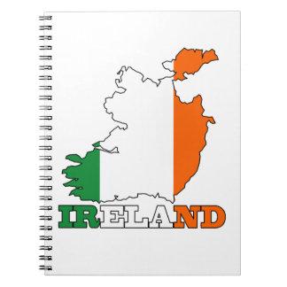 Bandera en el mapa de Irlanda Libro De Apuntes