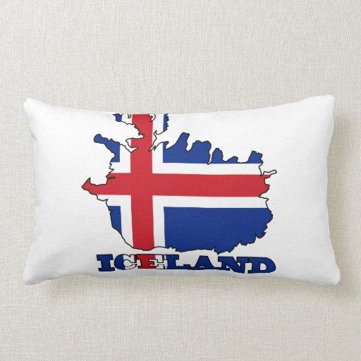 Bandera en el mapa de Islandia Almohada