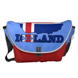 Bandera en el mapa de Islandia Bolsas Messenger