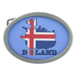 Bandera en el mapa de Islandia Hebilla Cinturon Oval