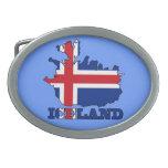 Bandera en el mapa de Islandia Hebilla De Cinturón
