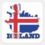 Bandera en el mapa de Islandia Pegatina Cuadrada