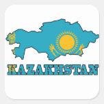 Bandera en el mapa de Kazajistán Calcomanía Cuadradas Personalizada