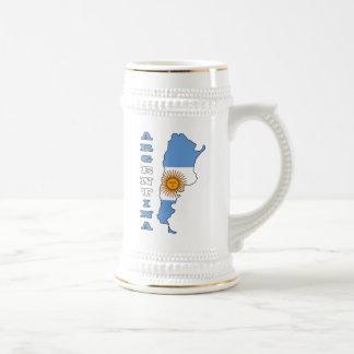 Bandera en el mapa de la Argentina Tazas