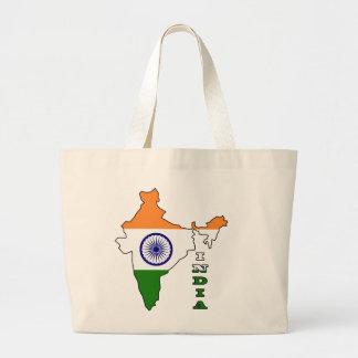 Bandera en el mapa de la India Bolsas De Mano