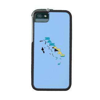 Bandera en el mapa de las Bahamas