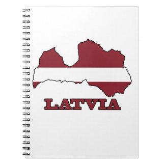 Bandera en el mapa de Letonia Libros De Apuntes