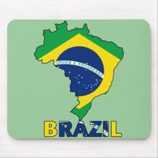 Bandera en el mapa del Brasil Tapete De Raton