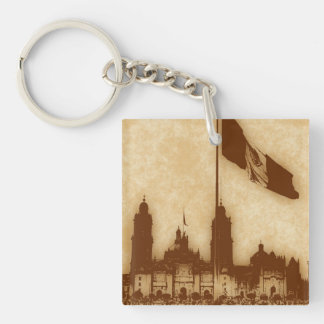 Bandera en el Zocalo DF Double-Sided Square Acrylic Keychain