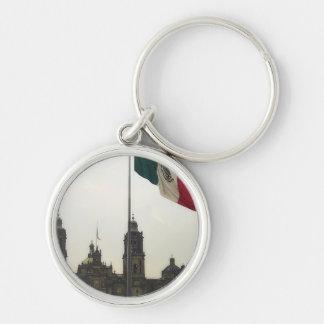 Bandera en el Zocalo DF Silver-Colored Round Keychain