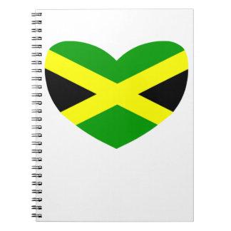 Bandera en forma de corazón de Jamaica Libro De Apuntes