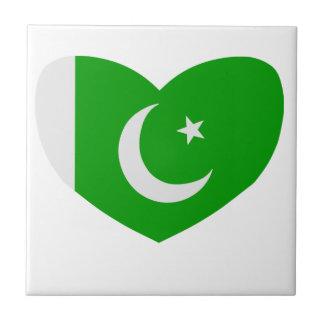 Bandera en forma de corazón de Paquistán Tejas Cerámicas