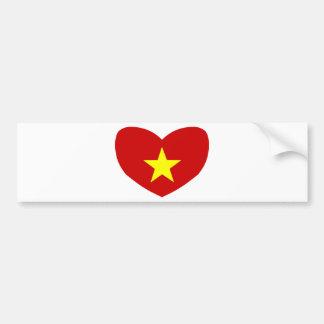 Bandera en forma de corazón de Vietnam Pegatina Para Auto