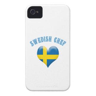 Bandera en forma de corazón del cocinero sueco de  iPhone 4 cobertura