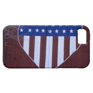 Bandera en la forma del corazón pintada en granero iPhone 5 Case-Mate carcasas