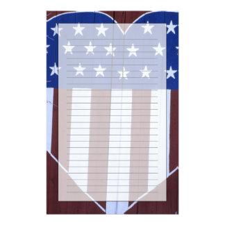 Bandera en la forma del corazón pintada en granero personalized stationery