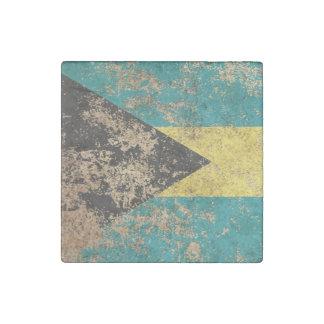 Bandera envejecida áspera de Bahamas del vintage Imán De Piedra