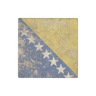 Bandera envejecida áspera de Bosnia y Hercegovina Imán De Piedra