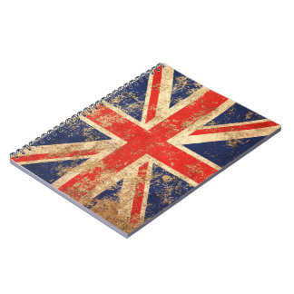 Bandera envejecida áspera de Británicos del Spiral Notebooks
