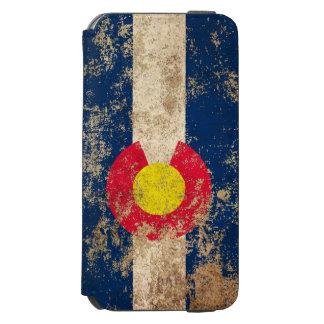 Bandera envejecida áspera de Colorado del vintage Funda Billetera Para iPhone 6 Watson