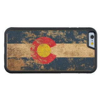 Bandera envejecida áspera de Colorado del vintage Funda De iPhone 6 Bumper Arce