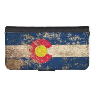 Bandera envejecida áspera de Colorado del vintage Funda Tipo Billetera Para iPhone 5