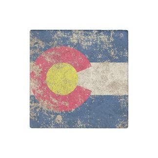 Bandera envejecida áspera de Colorado del vintage Imán De Piedra