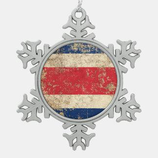 Bandera envejecida áspera de Costa Rica del Adorno De Peltre En Forma De Copo De Nieve