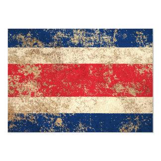 """Bandera envejecida áspera de Costa Rica del Invitación 5"""" X 7"""""""