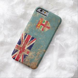 Bandera envejecida áspera de Fiji del vintage Funda Para iPhone 6 Barely There