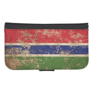 Bandera envejecida áspera de gambiano del vintage funda tipo billetera para galaxy s4