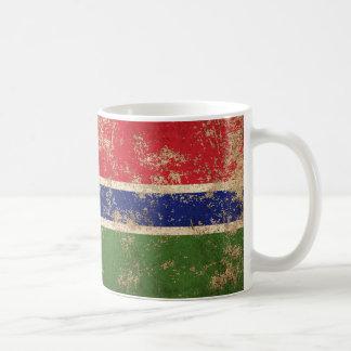 Bandera envejecida áspera de gambiano del vintage taza de café