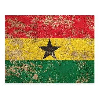 Bandera envejecida áspera de Ghana del vintage Tarjeta Postal