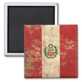 Bandera envejecida áspera de los Peruvian del Imán