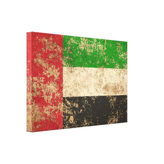 Bandera envejecida áspera de los UAE del vintage Impresión En Lienzo