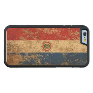 Bandera envejecida áspera de Paraguay del vintage Funda De iPhone 6 Bumper Arce