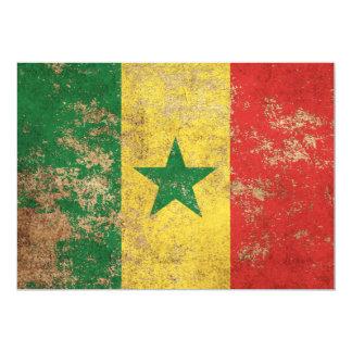 """Bandera envejecida áspera de Senegal del vintage Invitación 5"""" X 7"""""""