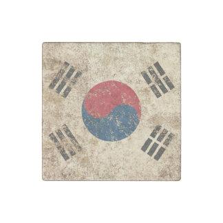 Bandera envejecida áspera de sudcoreano del imán de piedra