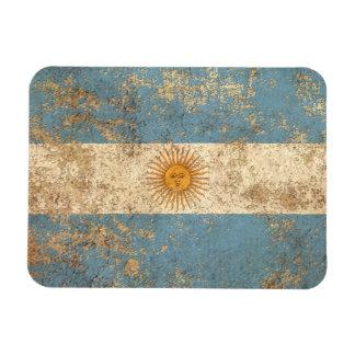 Bandera envejecida áspera del argentino del imán