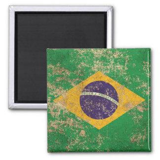 Bandera envejecida áspera del brasilen@o del iman