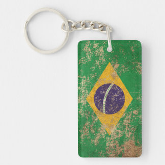 Bandera envejecida áspera del brasilen@o del llavero rectangular acrílico a doble cara